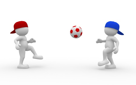 soccer fields: 3d people - human character, person with a football ball.  3d render