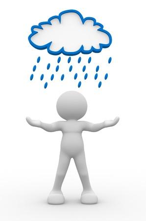 Men and women in the rain: người 3d - tính cách con người, người dưới một đám mây mưa. 3d làm Kho ảnh