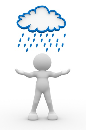 UOMO pioggia: Persone 3d - carattere umano, persona sotto una nuvola di pioggia. 3d rendering