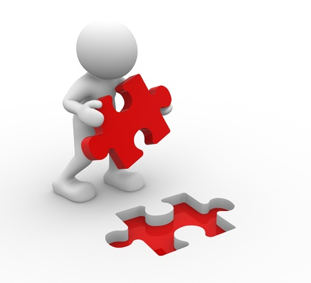 3d people - human character, person and last piece of puzzle ( jigsaw). 3d render  photo