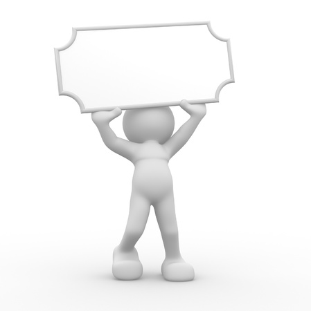 blank board: 3d people - human character, person holding a blank board.  3d render illustration