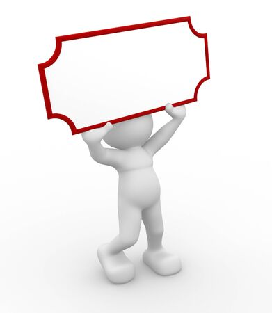 3d people - human character, person holding a blank board.  3d render illustration  illustration