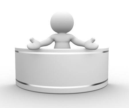 3d people-human character, person with a blank board . 3d render Stock Photo - 14801319