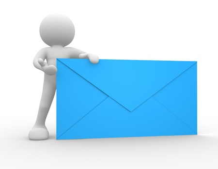 send mail: 3d people - human character, person and a big envelope. 3d render Stock Photo