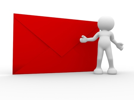 red envelope: 3d people - human character , person  with a big envelope. 3d render