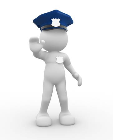3d people - human character , person with police helmet and badge - policeman. 3d render photo