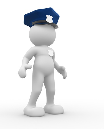 3d people - human character , person -  policeman.   3d render photo