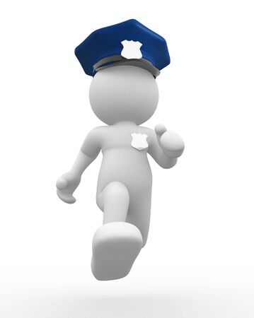 a policeman: 3d people - human character , person with helmet and insignia - policeman. 3d render  Stock Photo