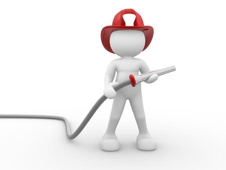 bombero de rojo: 3d gente - car�cter humano, persona - bombero y una manguera. 3d render Foto de archivo