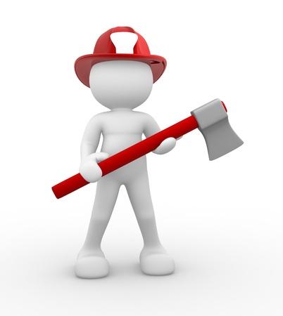 bombero de rojo: La gente 3d - de carácter humano, persona - bombero y un hacha de. 3d