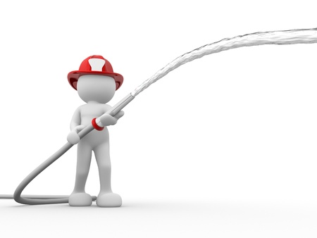 3d people - human character, person with helmet and a water hose. Fireman. 3d render photo