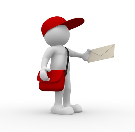 postman: 3d people - human character, person with cap. Postman with envelope and bag. 3d render