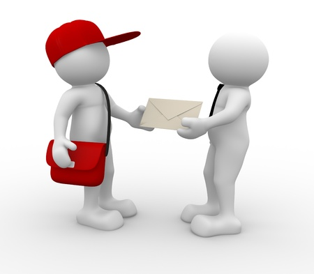 message: 3d people - human character, person with cap  and bag. Postman with envelope and a businessman. 3d render