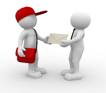 facteur: Les gens 3d - caract�re humain, personne avec le chapeau et le sac. Postman avec l'enveloppe et un homme d'affaires. 3d render