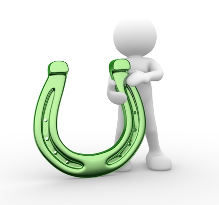 3d people - human character, person with a horseshoe.   3d render Stock Photo - 14801360