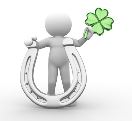 goodluck: 3d people - human character, person with a horseshoe and  a four-leaf clover ( shamrock). Sf. Patrick. 3d render Stock Photo