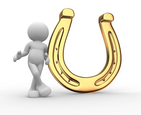 3d people - human character, person with a horseshoe. 3d render  Stock Photo - 14802175