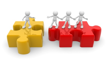 membres: Les gens 3d - caract�re humain, personne et de puzzle (casse-t�te). Coup de main. Amis. 3d render Banque d'images