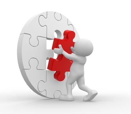 3d mensen - menselijk karakter en stukfiguurzaag (puzzel). 3d render