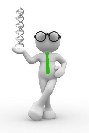3d Menschen - ein Mann, Person mit DNA-Struktur