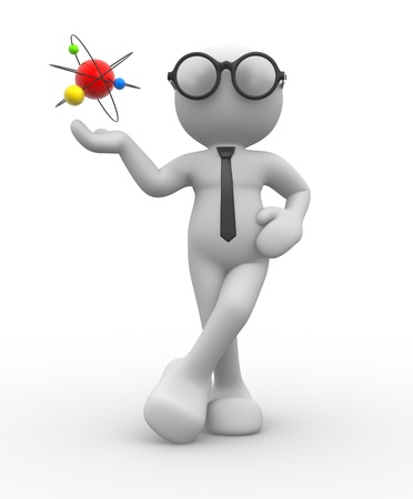 white atom: 3d people - man, person and conceptual structure of atom.