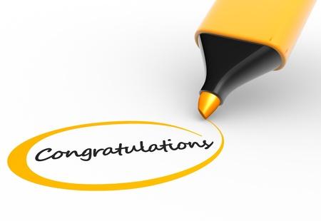 """felicitaciones: Marcador y palabra """"enhorabuena"""". 3d render Foto de archivo"""