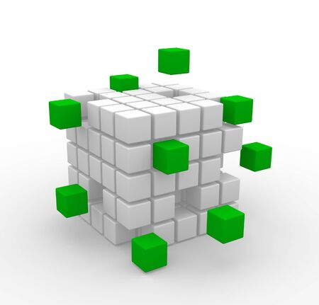 Abstract geometric shapes from cubes. 3d render illustration Stock Illustration - 14815063