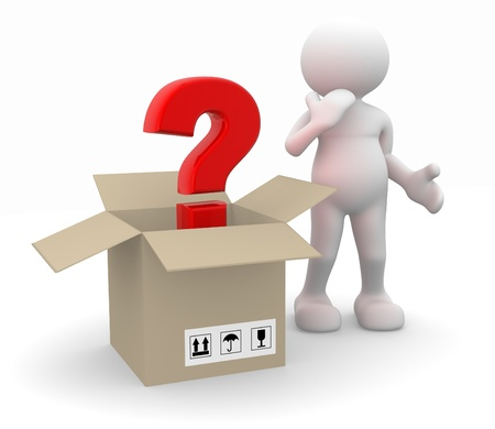 why: 3d people - man, person and question mark in a package.