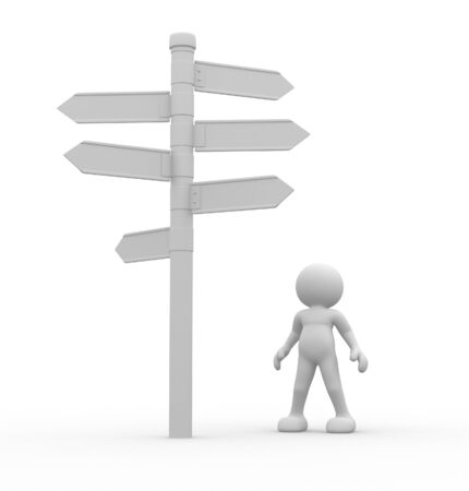 3d people - man, person standing in front of a roadsigns. Directional sign photo
