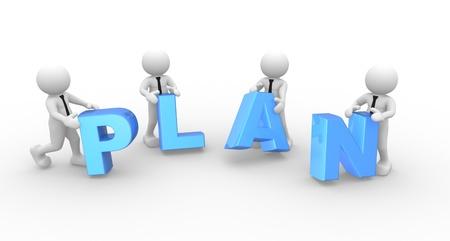 """Gente 3d - hombre, persona y la palabra """"plan""""."""
