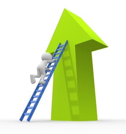 flecha azul: Gente 3d - hombre, persona sube por las escaleras en la flecha.