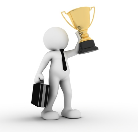 3d people - man, person winner holding a big shiny trophy. Stock Photo - 14814940