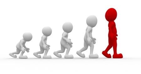 human evolution: 3d people - men, person a suggestion evolution