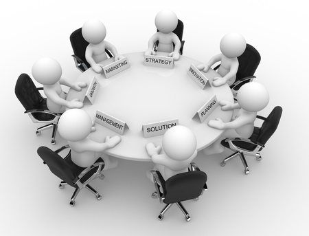 project manager: 3d people - men, person to conference table. Meeting