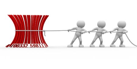 pulling rope: 3d people - men , person with a bar- code.  Barcode