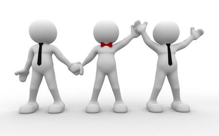 arbitros: 3d personas - hombres, personas en el boxeo. �rbitro Boxeo elegir el ganador del encuentro entre dos hombres de negocios
