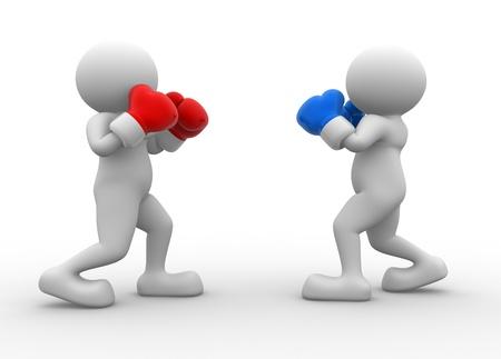 3d mensen - man, persoon tijdens de bokswedstrijd. Twee boksers