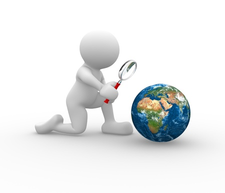 observations: 3d people - man, person with a magnifying glass and earth globe. Search concept.