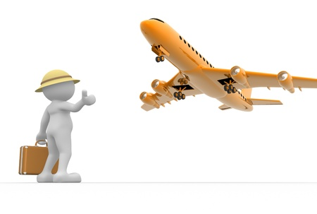 3d people - man, person  and a airplane. Concept of travel. Hitchhiking.  photo