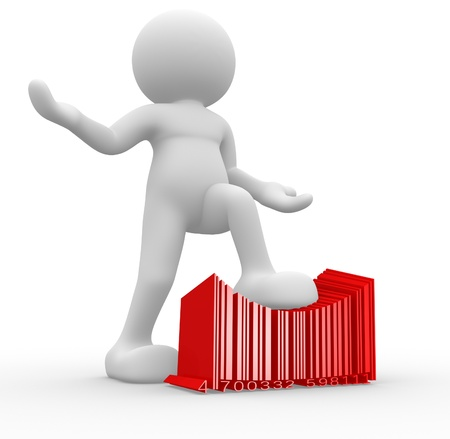 crushing: 3d people - man , person with a bar code ( barcode ) Stock Photo