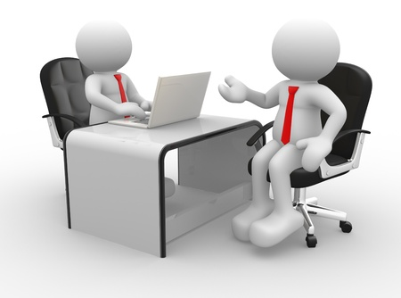 3d puppet: 3d people - men , person at a office. Business partners.  Stock Photo