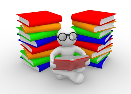 hardcovers: 3d people - men , person and books. Education concept