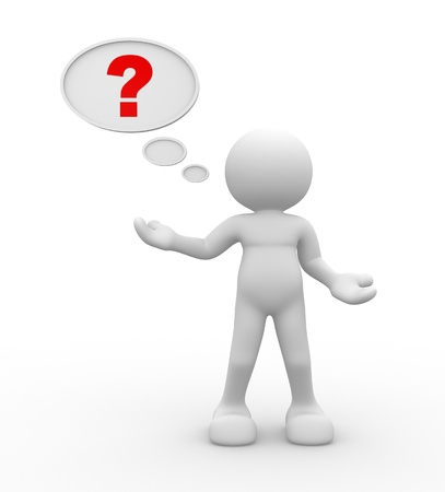 3d people - man, person with question mark in speech bubble Stock Photo - 14814902