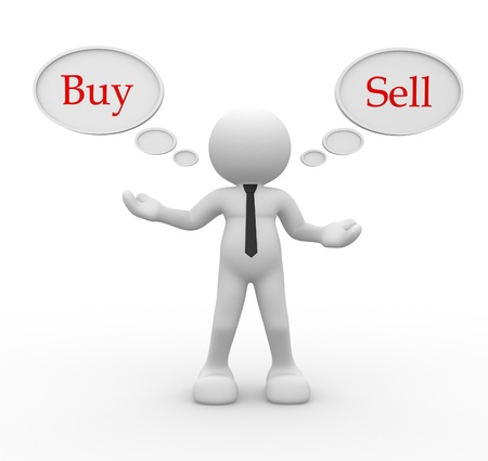 3d person: 3d people - men, person with bubbles. Words buyand  sell