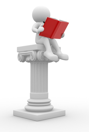 3d people - man, person with a open book and roman columns.   photo