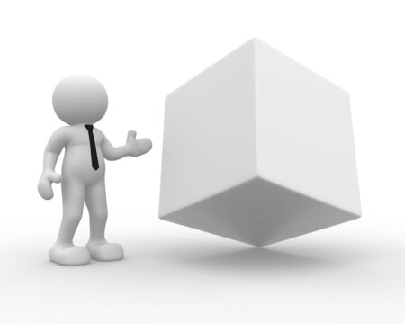 3d people - man, person and a blank cube.  photo