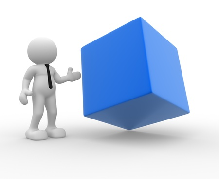 3d people - man, person and a blank cube. Stock Photo - 14815226