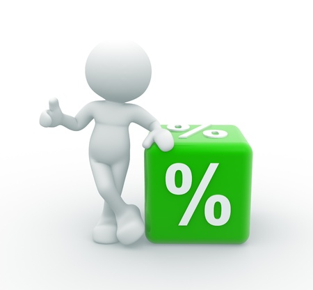 3d people - men, person and a cube with percentage. % Stock Photo - 14815148