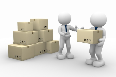 shipment parcel: 3d people - men, person and cardboard boxes. Postman.