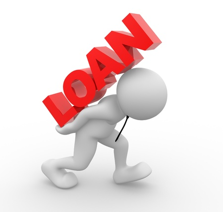 owe: 3d people - man , person and word Loan.  Loan concept Stock Photo